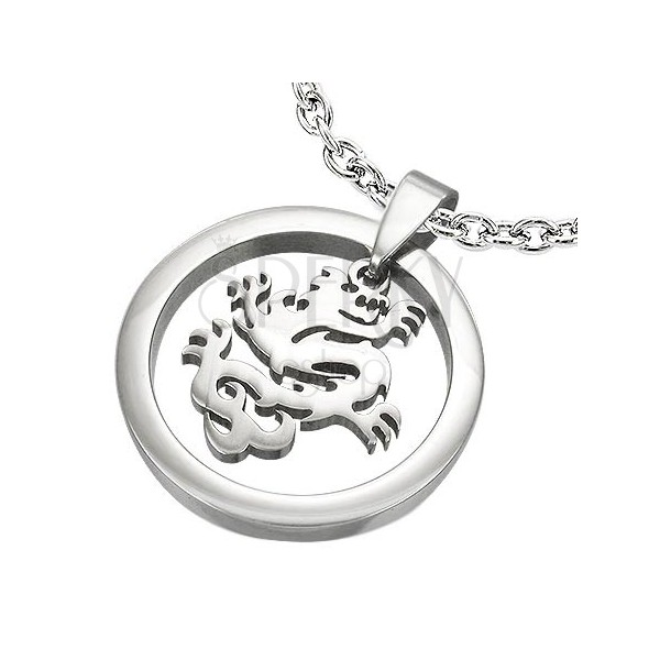 Chinese dragon in circle - stainless steel pendant