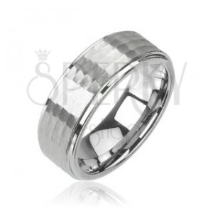 Tungsten ring in silver colour, cut pattern, 8 mm