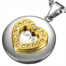 Stainless steel pendant - golden heart with zircons