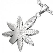Marijuana leaf pendant with zircons