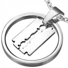 Razor blade in circle pendant
