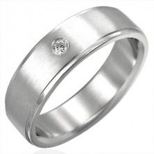 Polished steel ring with zircon