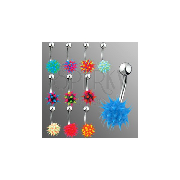 Belly ring with colorful silicone hedgehog