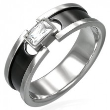 Stainless steel ring with zircon - black stripe and shiny lining