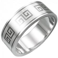 Stainless steel ring - Greek key pattern