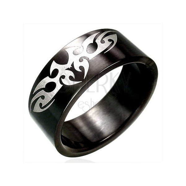 Black stainless steel ring with TRIBAL symbol