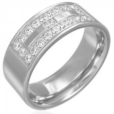 Steel ring with a zircon decoration