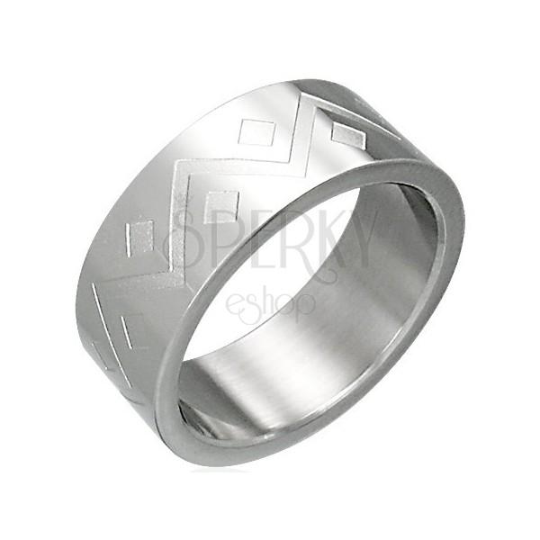 Stainless steel ring - geometric pattern