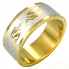 Chinese dragon gold-plated ring made of steel