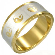 Yin-Yang gold-plated ring