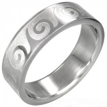 Stainless steel ring with spiral pattern