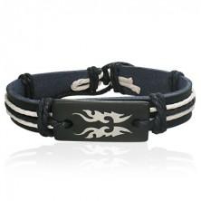 Black coloured leather bracelet - Tribal symbol