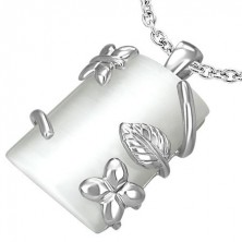 Rectangular pendant with floral design
