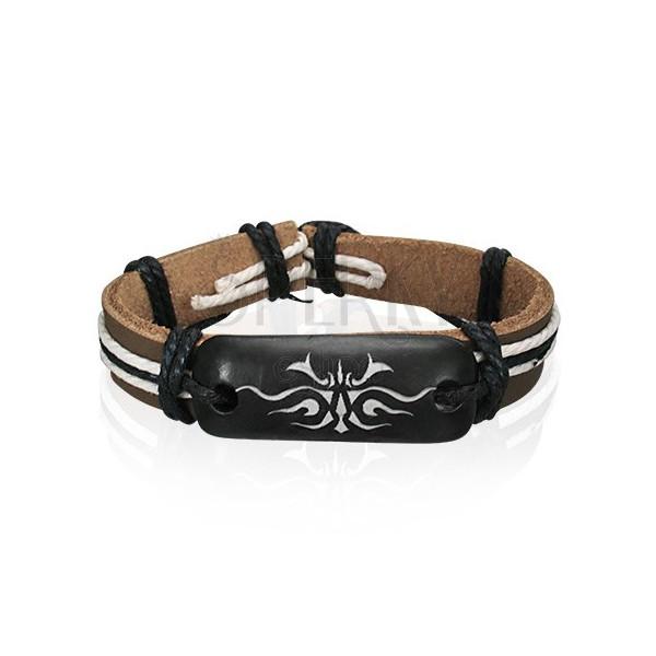 Leather bracelet - brown, Tribal symbol