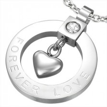 FOREVER LOVE stainless steel pendant - heart in circle