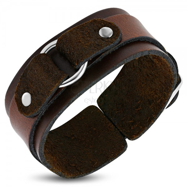 Two layer brown leather bangle with circle
