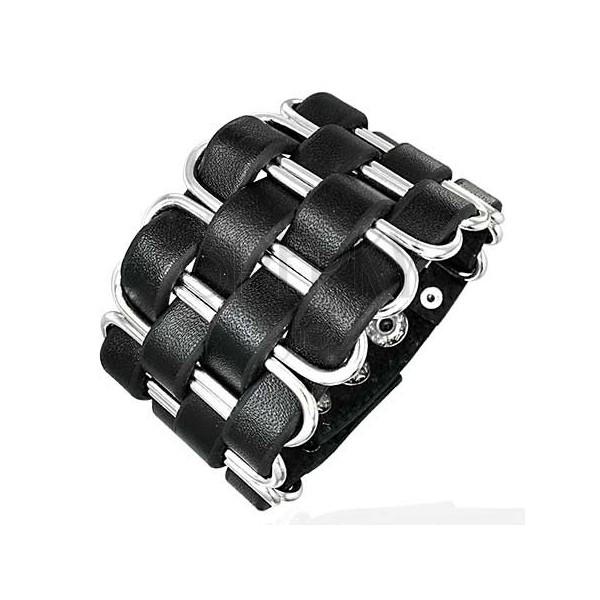 Black leather bangle - braid made of narrow strips