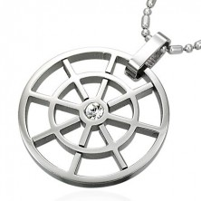 Stainless steel circle pendant with zircon