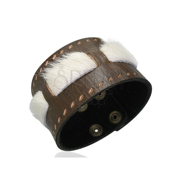 Two layer leather bracelet with beige fur