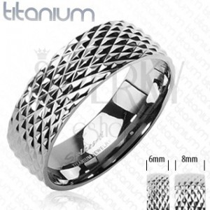 Titanium ring with snakeskin pattern