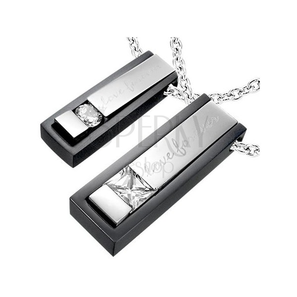 Stainless steel Love Forever couple pendants - black and silver colour
