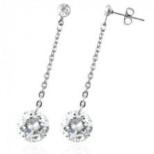 Steel earrings - big dangling zircon in clear colour, chain