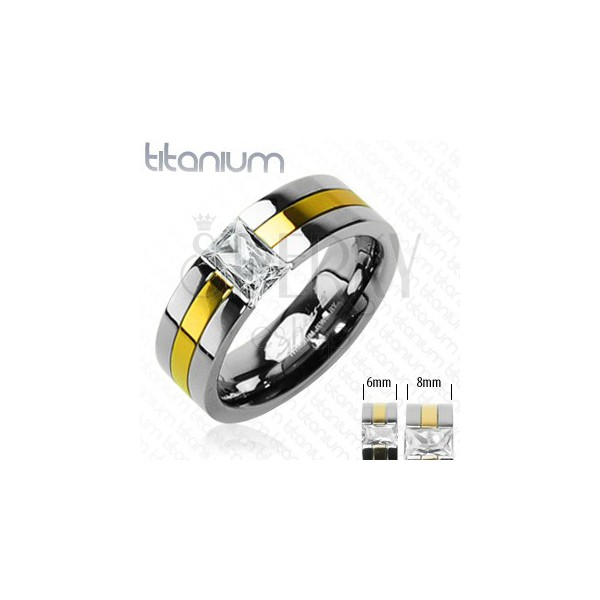 Titanium band with stripe in gold color and zircon