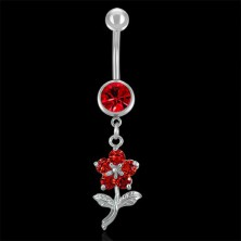 Belly button ring - red flower