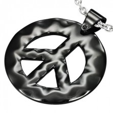 Black Hippie steel pendant - the PEACE sign