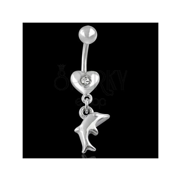 Belly ring - heart and dolphin