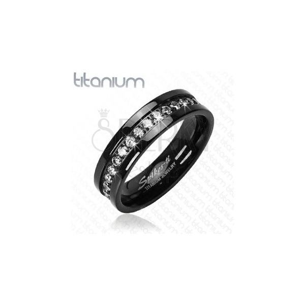 Black titanium ring with embedded zircons alongside whole perimeter