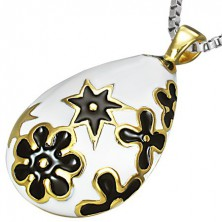 Teardrop steel pendant with two-coloured flowers