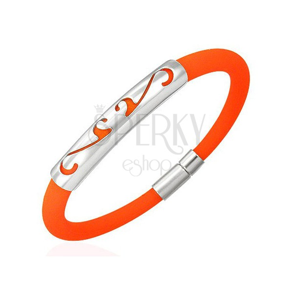 Round rubber bracelet - ornament, orange