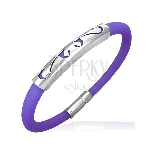Round rubber bracelet - ornament, purple