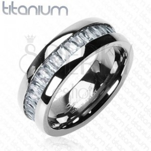 Titanium ring with embedded rectangular zircons