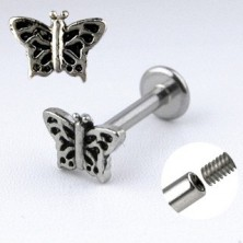 Chin labret with butterfly