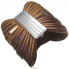 Brown leather bracelet with buckle - chessboard