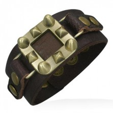 Leather bangle in brown with pyramids and cones