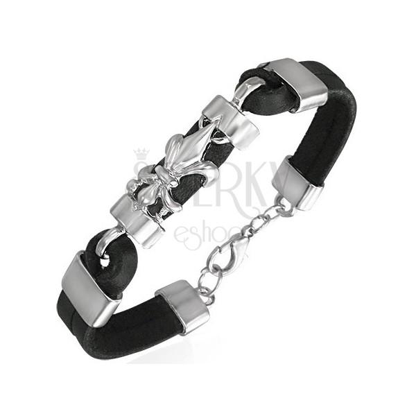 Black bracelet made of leather - fleur de lis motif
