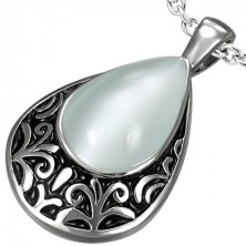 Big teardrop steel pendant with colorful rhinestone