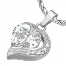 Heart pendant made of steel with clear zircon