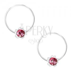 Hoop Earrings Made Of 925 Silver Pink Flower Round Swarovski Crystal