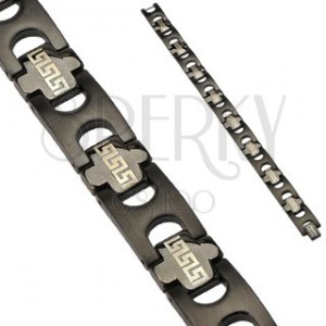 Stainless steel IP Tribal link bracelet - black colour