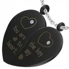 Stainless steel pendant - halved heart with zircons