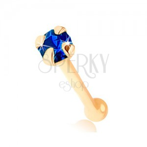 Nose piercing made of yellow 9K gold - tiny zircon in dark blue colour