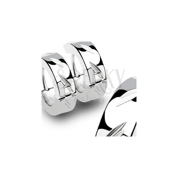 Stainless steel earrings with slanted grooves - pair