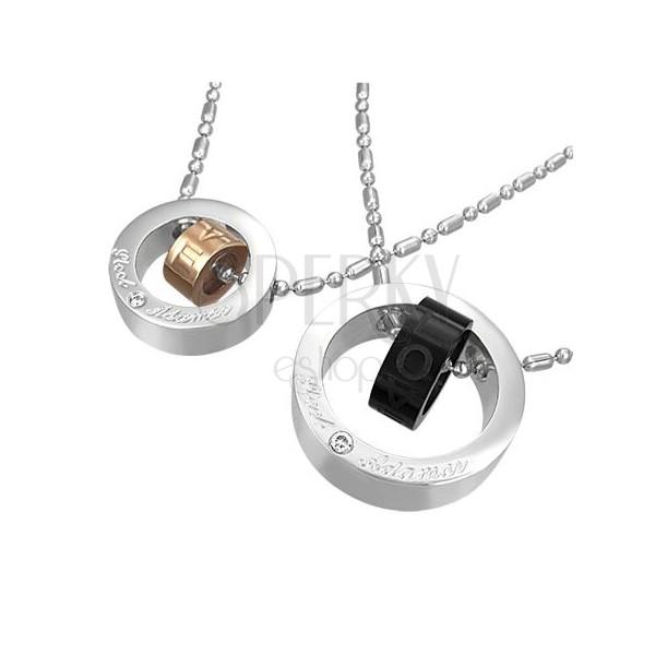 Set of steel pendants - double love rings