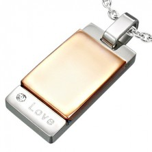 Two-tone stainless steel pendant - Love