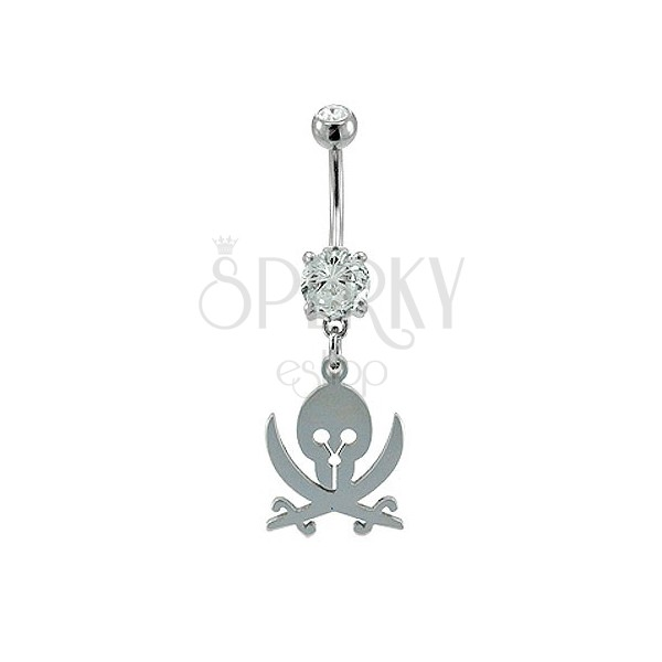 Navel ring - skull and swords