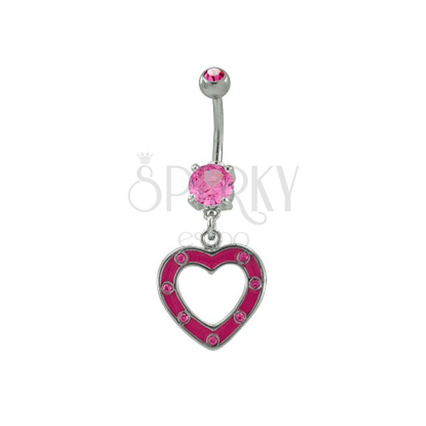 Belly button ring with pink heart and zircons